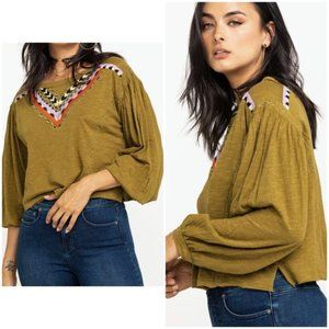 Free People Hand Me Down Embroidered Top Moss